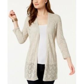 ファッション トップス Charter Club NEW Beige Womens XXL Plus Pattern Knit Cardigan Sweater