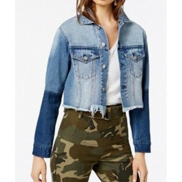 KENDALL + KYLIE ケンダル+キリー ファッション 衣類 KENDALL + KYLIE Womens Jacket Blue Size Large L Denim Jean Frayed
