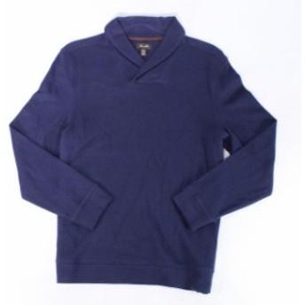 ファッション トップス Tasso Elba Mens Sweater Solid Navy Blue Size 3XL V-Neck Shawl Collar