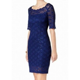 ファッション ドレス Connected Apparel NEW Deep Blue Womens Size 8 Sequined Lace Dress