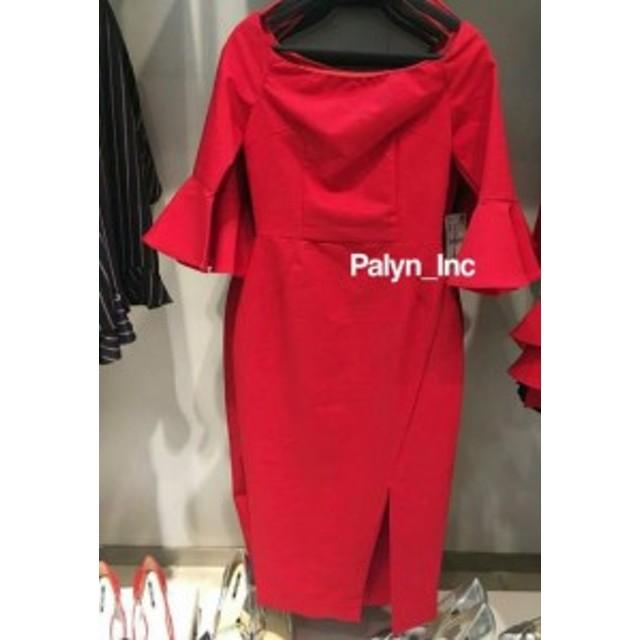 Red  ファッション ドレス Rare_NWT ZARA SS17 Red OFF-SHOULDER-SHOULDER SHIFT DRESS TUBE _XS S M L