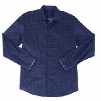 Modern  ファッション アウター Tasso Elba NEW Modern Blue XL 17-17 1/2 Floral Button-Down Slim Shirt