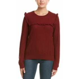 Red  ファッション トップス Duffy Ruffle Trim Wool-Blend Sweater S Red