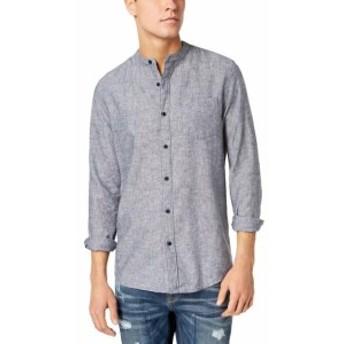 American  ファッション アウター American Rag NEW Gray Men Size Medium M Banded Collar Button Up Shirt