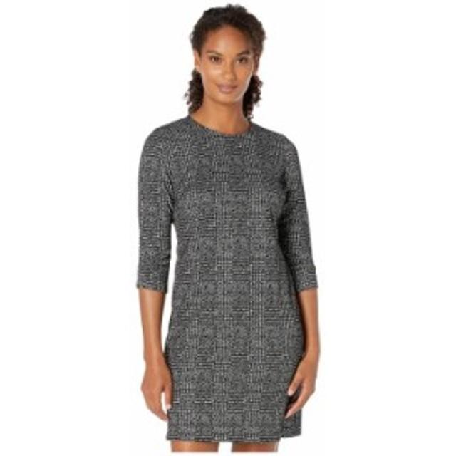 カルバンクライン レディース ワンピース トップス Plaid Sheath Dress with Ruched Detail Sleeve Black/Cream
