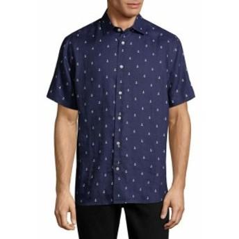 ファッション ドレスシューズ Saks Fifth Avenue Black Linen Woven Shirt Xl Blue