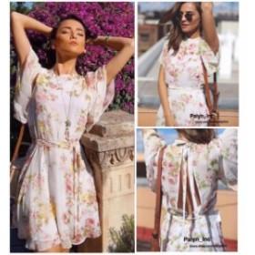 ファッション ドレス NWT ZARA SS17 2017 ECRU PRINTED MINI DRESS WITH BELT FLOWING 2228/802_S M L