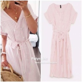 ファッション ドレス NWT ZARA SS18 MIDI V NECK SHIRT DRESS Off-white/pink 0003/101_XS S M L