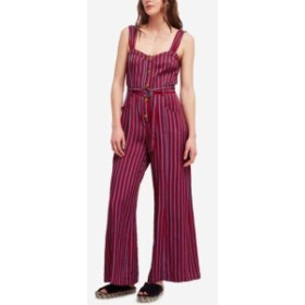 Free People フリーピープル ファッション ジャンプスーツ Free People NEW Red Womens Size 10 Buttoned Striped Wide Leg Jumpsuit