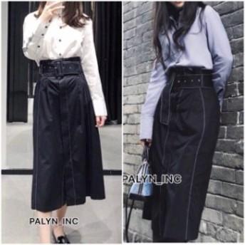 ファッション スカート NWT ZARA SS18 BLACK SKIRT WITH CONTRASTING TOPSTITCHING BELT 4886/054_M L