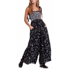 Free People フリーピープル ファッション ジャンプスーツ Free People Womens Jumpsuit Black Size Medium M Floral Tie Sleeves
