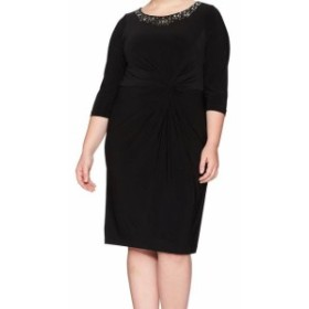 Alex Evenings アレックスイブニングス ファッション ドレス Alex Evenings NEW Black Embellished Twist-Front 18W Plus Sheath Dress