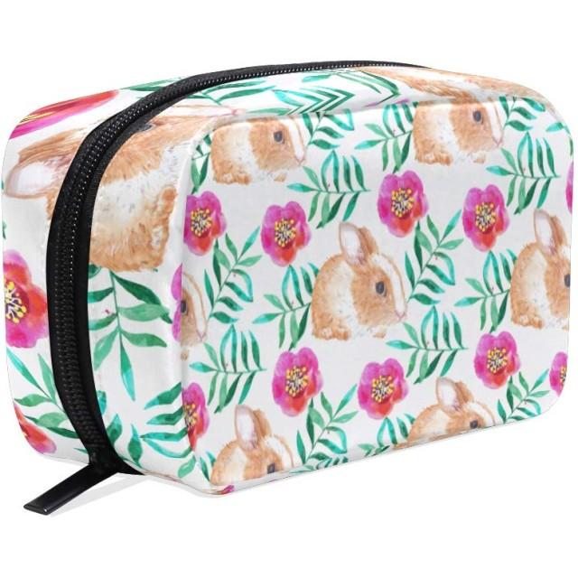 化粧ポーチ 仕切り メイクポーチ レディース 花柄 兎 動物 メイクボックス 女の子 化粧バッグ 化粧ボックス コスメバッグ 小物ケース おしゃれ かわいい