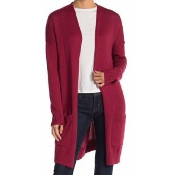 Red  ファッション トップス ABOUND NEW Rumba Red Womens XS Open Front Long Knit Collarless Cardigan #608