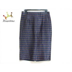 ダーマコレクション スカート サイズ67-93 レディース 新品同様 ネイビー×ブラウン ボーダー 新着 20190927