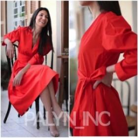 Red  ファッション ドレス NWT ZARA SS19 WOMAN BELTED POPLIN DRESS RED COTTON MIDI 4437/083_SIZE S-L