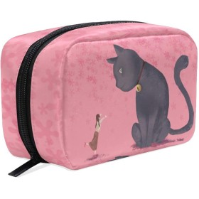 (VAWA) 化粧ポーチ 大容量 可愛い 和風 猫柄 メイクポーチ コンパクト 機能的 おしゃれ 持ち運び コスメ収納 仕切り ミニポーチ バニティーケース 洗面道具 携帯用