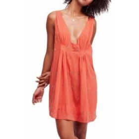 Free People フリーピープル ファッション ドレス FREE PEOPLE NEW Orange Women Small S Embellished V-Neck A-Line Dress