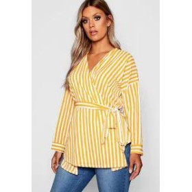 Boohoo レディースその他 Boohoo Plus Stripe Wrap Top mustard