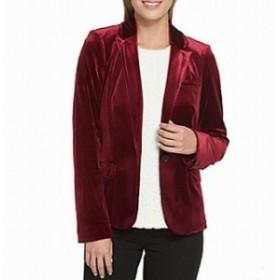 Blazer ブレザー ファッション フォーマル Tommy Hilfiger NEW Red Burgundy Womens Size 10 Velvet 1-Button Blazer
