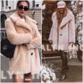 ファッション 衣類 NWT ZARA AW18 PINK NUDE FAUX FUR COAT WITH LAPEL COLLAR_XS S M L XL