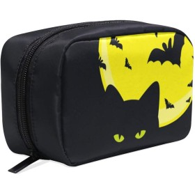 (VAWA) 化粧ポーチ 大容量 可愛い ハロウィン 黒い猫 バット メイクポーチ コンパクト 機能的 おしゃれ 持ち運び コスメ収納 仕切り ミニポーチ バニティーケース 洗面道具 携帯用