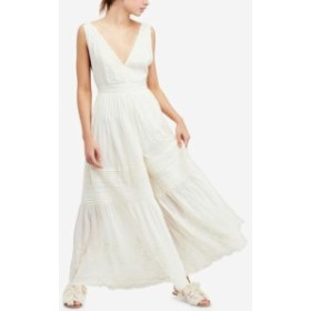 Free People フリーピープル ファッション ジャンプスーツ Free People White Ivory Womens Size 6 Paloma Pleated V-Neck Jumpsuit