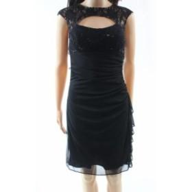 Betsy & Adam ベッツィアンドアダム ファッション ドレス Betsy & Adam NEW Black Womens Size 10 Lace Sequin Cutout Sheath Dress