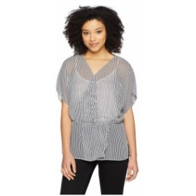 Vince Camuto ヴィンスカムート 服 一般 Drop Shoulder Island Pinstripe Cinch Waist Blouse