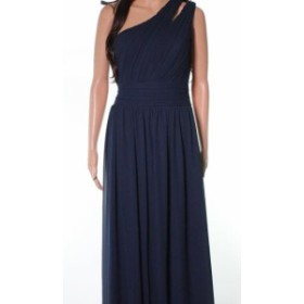 One  ファッション ドレス Levkoff NEW Blue Pleated Chiffon One Shoulder Womens Size 12 Gown