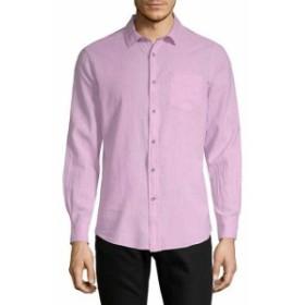 Report レポート ファッション ドレスシューズ Report Linen-Blend Woven Shirt M Pink