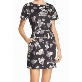 French Connection フレンチコネクション ファッション ドレス French Connection NEW Black Womens 6 Petal Print Pocket Sheath Dress
