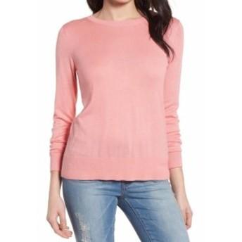 ファッション トップス Halogen NEW Pink Blue Striped Bow Tie Women PXL Petite Crewneck Sweater