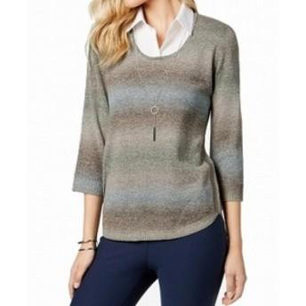 ファッション トップス NY Collection NEW Gray Women XL Necklace Collared Stripe Sweater