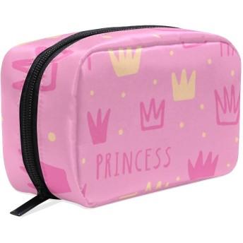 (VAWA) 化粧ポーチ 大容量 可愛い プリンセス クラウン柄 ドット柄 ピンク メイクポーチ コンパクト 機能的 おしゃれ 持ち運び コスメ収納 仕切り ミニポーチ バニティーケース 洗面道具 携帯用
