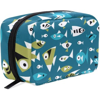 化粧ポーチ 仕切り メイクポーチ レディース 魚柄 メイクボックス 女の子 化粧バッグ 化粧ボックス コスメバッグ 小物ケース おしゃれ かわいい