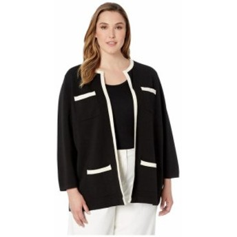 Anne Klein アンクライン 服 スウェット Plus Size Tipped Patch Pocket Cardigan