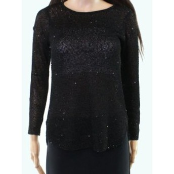 Alfani  ファッション トップス Alfani NEW Black Womens Size P Petite Illusion Scoop Neck Sweater
