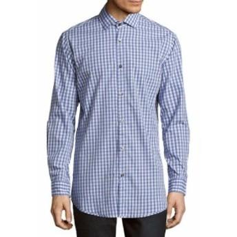 ファッション ドレスシューズ Saks Fifth Avenue Gingham Woven Shirt Xl Blue