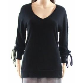 ファッション トップス Go Couture NEW Black Womens Size Large L Drawstring V-Neck Sweater
