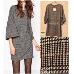 ファッション ドレス NWT ZARA CHECK DRESS WITH FRILLED SLEEVES TUNIC _S M L
