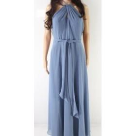 ファッション ドレス Levkoff NEW Blue Womens Size 6 Belted Halter Keyhole Sheath Dress
