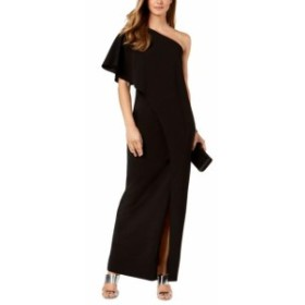 Adrianna Papell アドリアーナ パペル ファッション ドレス Adrianna Papell Womens Dress Black Size 4 One-Shoulder Slit Gown