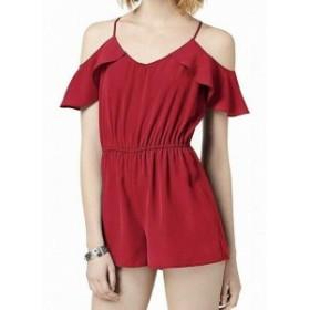 Red  ファッション ジャンプスーツ BE BOP Womens Romper Red Size Medium M Chiffon Flutter Sleeve Ruffled