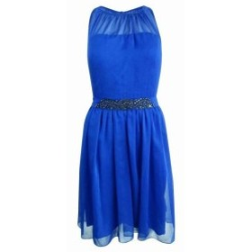 Adrianna Papell アドリアーナ パペル ファッション ドレス Adrianna Papell NEW Blue Womens Size 12 Belted Chiffon A-Line Dress