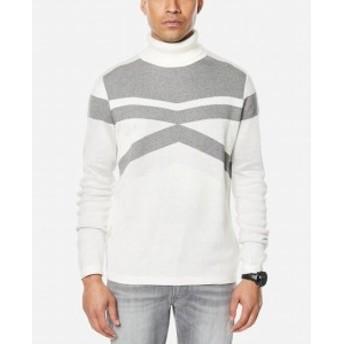 Sean  ファッション トップス Sean John Mens Sweater White Ivory Size 2XL Colorblock Turtleneck
