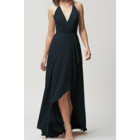 Jenny Yoo ジェニーヨー ファッション ドレス Jenny Yoo NEW Blue Womens Size 12 Plunge V-Neck Hi-Lo Sheath Dress
