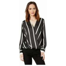 Vince Camuto ヴィンスカムート 服 一般 Long Sleeve Dramatic Stripe Front Wrap Blouse