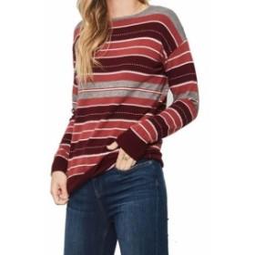 Promesa  ファッション トップス Promesa Womens Red Size Medium M Stripe Pullover Crewneck Knit Sweater