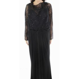 Sequin  ファッション ドレス Macduggal Womens Dress Black 24W Plus Gown Sequin Lace Embellished
